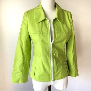 nwot Lafayette 148 New York Lime Green Zip Jacket